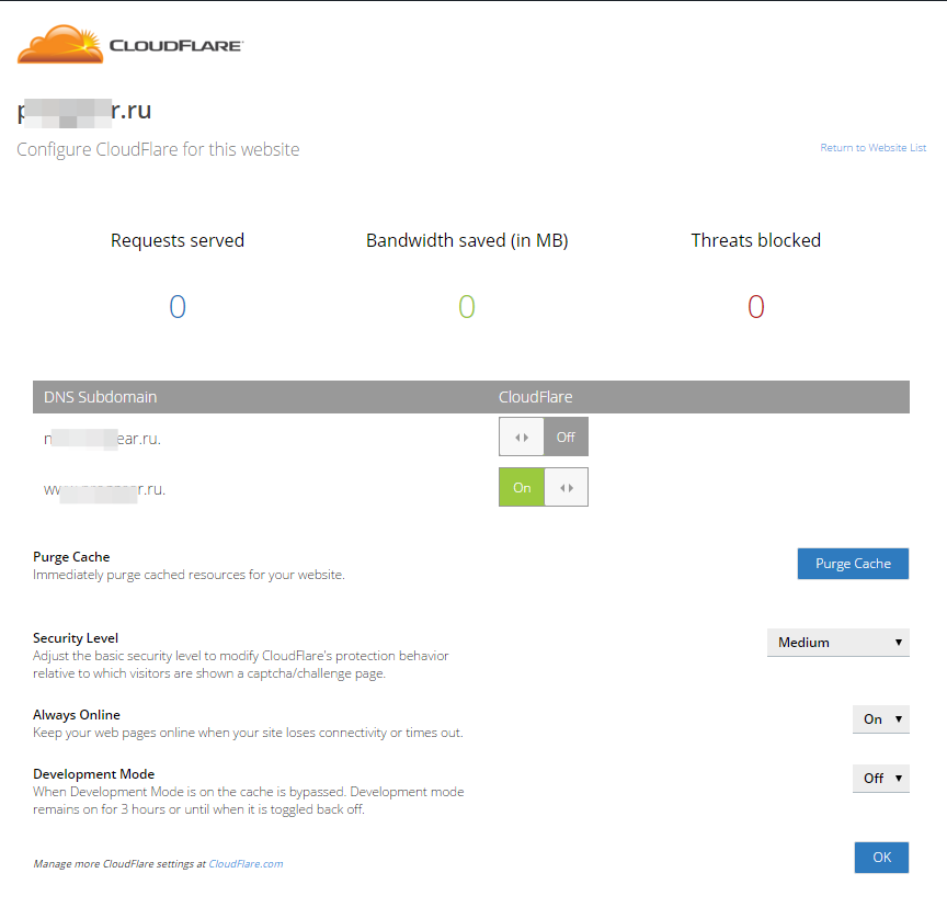 Configure CloudFlare for this website